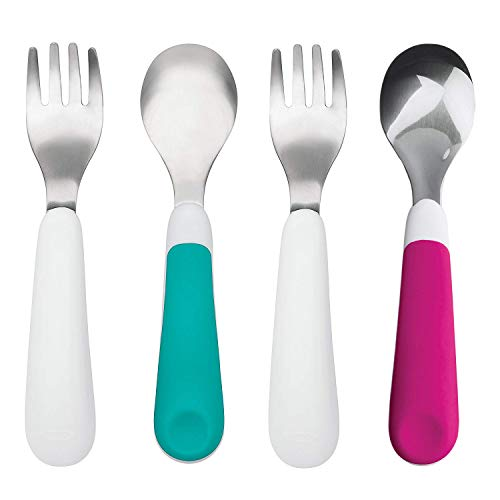 OXO Tot Training Fork and Spoon Set, Teal/Pink (2 Pack)