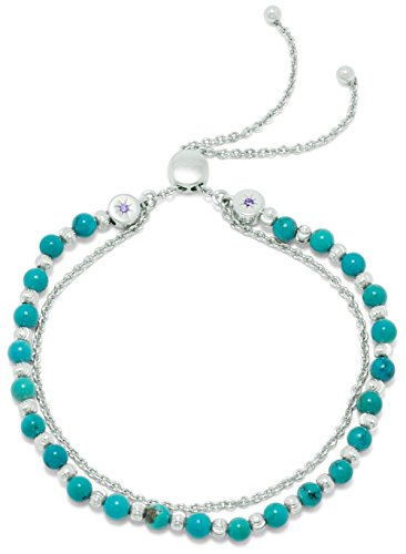 (Rhodium Plated Sterling Bolo Bracelet, 4.4mm Reconstituted Turquoise Beads, Adjusts to 11 inches)