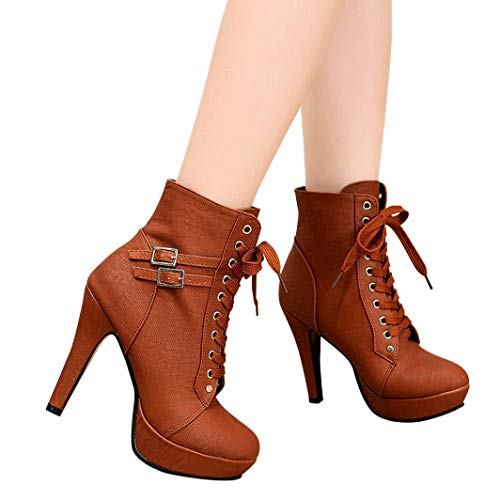 Gyoume Ankle Boots Women High Heel Wedge Platform Boots Shoes Lace Up Boots Buckle Boots Round Toe ()