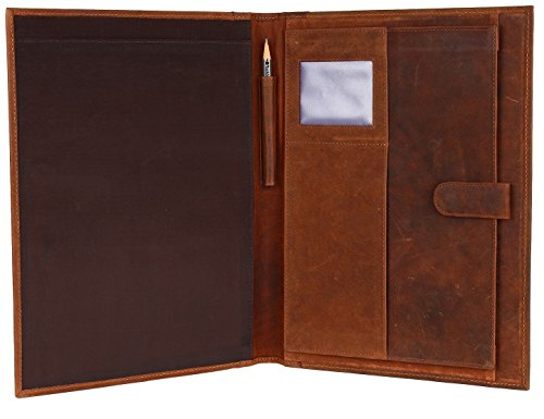 Handmade GENUINE LEATHER Business Portfolio by Rustic Town | Professional Organizer Men & Women | Durable Leather Padfolio with Sleeves for documents and notepad (Brown) Leather Padfolio Pen
