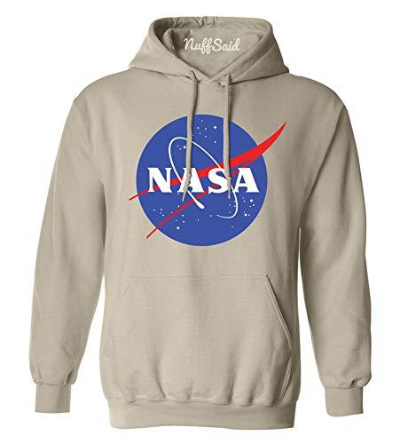 Sweatshirt Greatest (NuffSaid NASA Meatball Logo Worm Hooded Sweatshirt Sweater Pullover - Unisex Hoodie (Large, Sand))