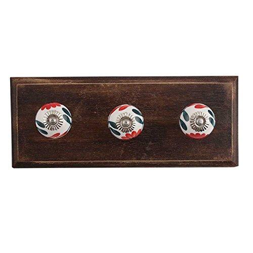 Indianshelf Handmade Artistic Wooden Mini Carnation Wall Heavy Duty Hooks for Robe Coat Towel Keys Bags Home Kitchen with Screws (India Carnation)