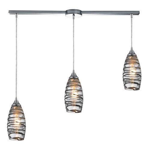 Elk 31338/3L-VINW Twister 3-Light Pendant with Vine Wrap Glass Shade, 36 by 10-Inch, Polished Chrome Finish by Elk Lighting