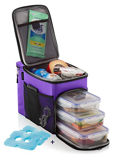 ZUZURO Lunch box Insulated cooler bag w/ 3 compartment - Includes 3 Meal Prep Containers - Detachable Shoulder Strap + 2 Ice Packs. Great for Work Office or Travel Lunch Bag (Purple) ()