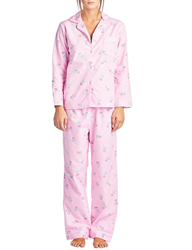 Casual Nights Women's Sleepwear Flannel Long Sleeve Pajama Set - Pink Floral - X-Large