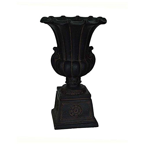 MPG 16-1/4 in. x 26-1/2 in. Cast Stone Urn on Pedestal in Aged -