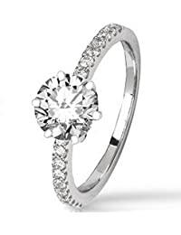 2.23 Ctw 14K White Gold Classic Side Stone Prong Set Engagement Ring w/ Round 2 Carat Moissanite Center