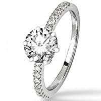 0.73 Cttw 14K White Gold Round Cut Classic Side Stone Prong Set Diamond Engagement Ring with a 0.5 Carat H-I Color I1 Clarity Center