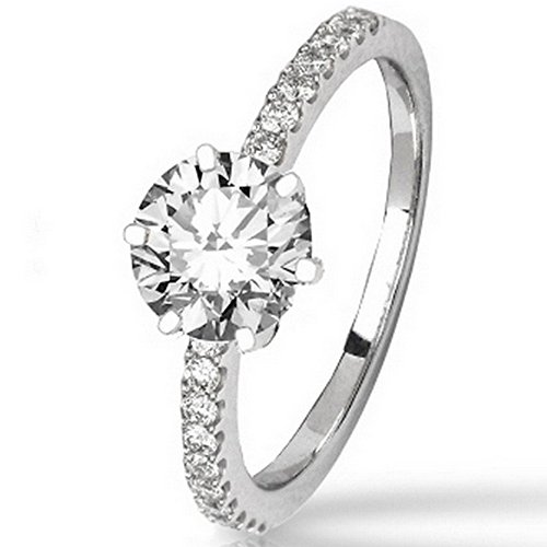 0.48 Cttw 14K White Gold Round Cut Classic Side Stone Prong Set Diamond Engagement Ring with a 0.25 Carat I-J Color SI1-SI2 Clarity (0.25 Ct Center)