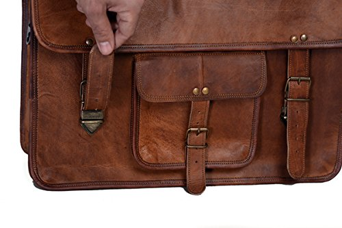 KPL 18 Inch Vintage Men's Brown Handmade Leather Briefcase Best Laptop Messenger Bag Satchel by Komal's Passion Leather (Image #3)