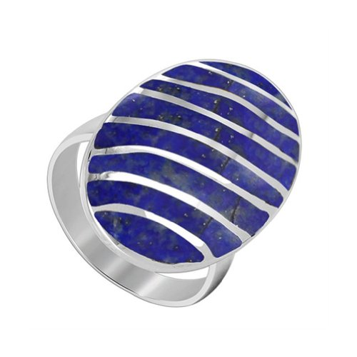 (925 Sterling Silver Oval Blue Lapis Gemstone Ring Size 6 Stripes Design)