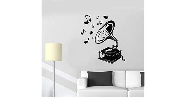 wukongsun Vintage Retro música fonógrafo Etiqueta de la Pared Pegatina decoración del hogar Sala de Estar Dormitorio Vinilo Arte Apliques 50.4cmx55.2cm: Amazon.es: Hogar