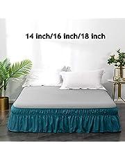 AYASW Bed Skirt-16 Inch Drop Dust Ruffle Three Fabric Sides Wrap Around Ruffled