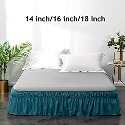 """1 Turquoise Twin Wrap Around Elastic Bedding Bed Dressing SKIRT 14/"""" inch Drop"""