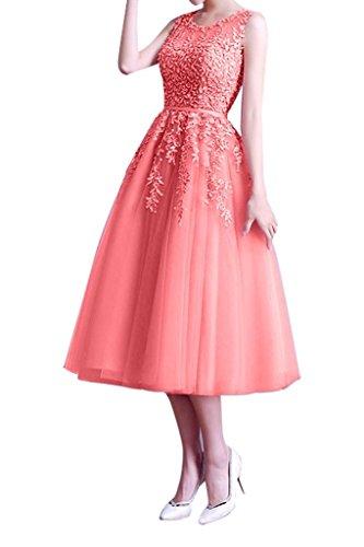 Pfirsisch Tuell Brautjungfernkleider La Knielang Anmutig Partykleider Abendkleider mia Lang Braut Ballkleider Spitze AnT4HA