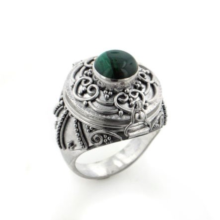 Large Sterling Silver Green Malachite Poison Locket Ring(Sizes 5,6,7,8,9)