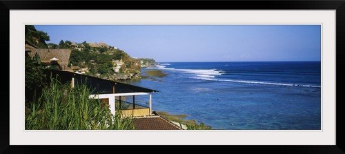 GreatBIGCanvas ''Houses on the coast, Bali, Indonesia'' Photographic Print with Black Frame, 48'' x 17'' by greatBIGcanvas