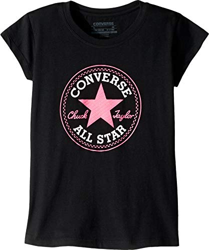 Converse Kids Girl's Chuck Patch Tee (Big Kids) Black Medium ()