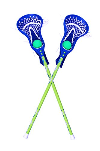 Youper Mini Lacrosse Stick Set with Two Aluminum Sticks & Two Balls for Kids (Green Blue)