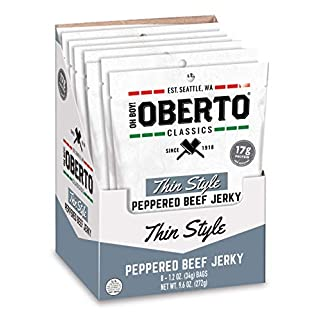 Oh Boy! Oberto Classics Thin Style Peppered Beef Jerky, 1.2 Ounce (Pack of 8)