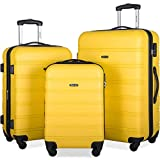 Merax Mellowdy 3 Piece Set Spinner Luggage Expandable Travel Suitcase 20 24 28 inch (Lively Yellow)