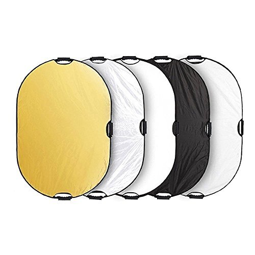 Andoer 24''x36''/ 60x90cm 5 in 1 Oval Collapsible Multi Reflector Portable Photo Photography Studio Video Lighting Diffuser with Grip and Carrying Case by Andoer