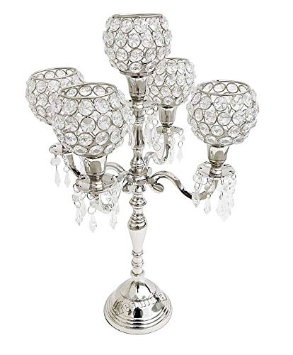 5 Arm Crystal Candelabra Wedding Centerpieces Candle Holder Silver Finish.