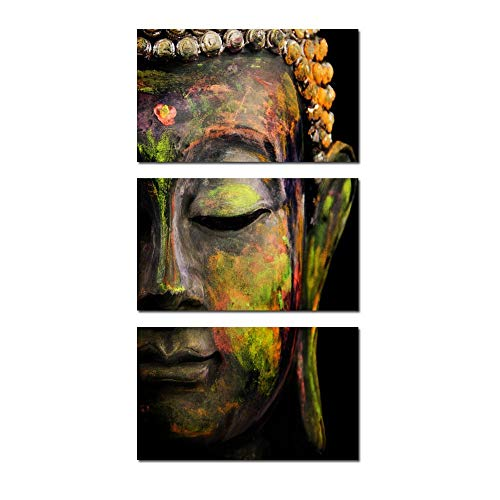 (Kreative Arts - Modern Buddha Head Portrait Painting Printed On Canvas Religion Wall Art Triptych Canvas Painting Home Decoration Wall Murals Ready to Hang)