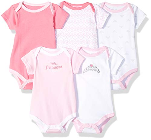 Luvable Friends Unisex Baby Cotton Bodysuits, Tiara Short Sleeve 5 Pack, 3-6 Months (6M) (3 Girl Best Friends)