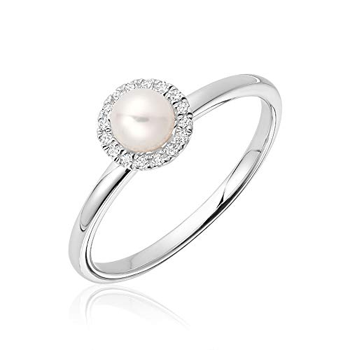 Jewels By Erika R-10PL10 10K Gold Pearl & Diamond Ring Size 6.5 (White-Gold)