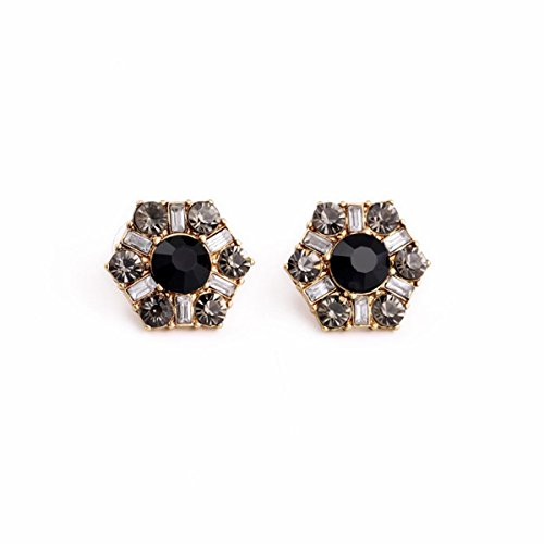 - T-Doreen Hexagon Gemstone Stud Earring Crystal/Gray/Black Earring for Women Anti Golden