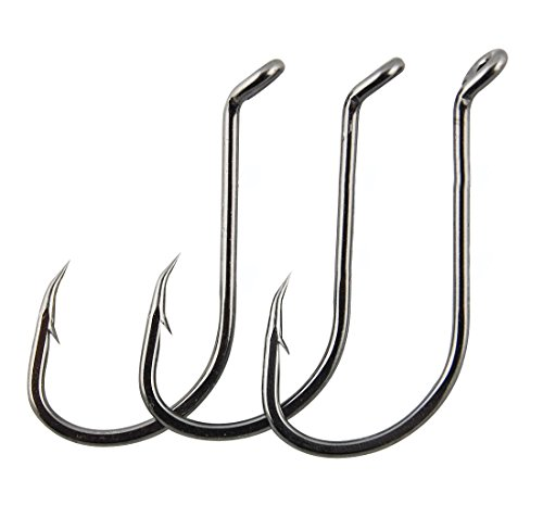 JSHANMEI Octopus Hooks Fishing Jig Hook Black High Carbon Steel Barb Fish Hooks Freshwater Saltwater Fishing 100pcs/pack (Octopus Hook, 4) ()