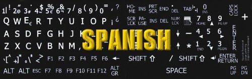 SPANISH LARGE UPPER CASE NON-TRANSPARENT KEYBOARD STICKERS BLACK BACKGROUND FOR DESKTOP LAPTOP AND NOTEBOOK