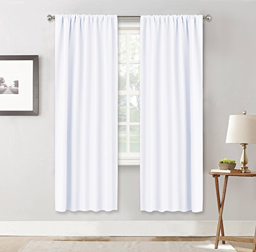 RYB HOME Window Decor Kitchen Curtain Drapes - 50% Blackout Thermal Insulated Curtains Set Rod Pocket Energy Saving for Bedroom Kitchen Livingroom Dining, 42