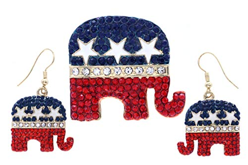 Soulbreezecollection Republican Democratic Party Voting Campaign GOP Symbol Elephant Donkey Brooch Pin Set (Elephant Set)