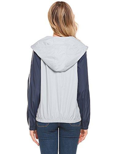 Unibelle Damen Kapuzenjacke Regenjacke Windbreaker Funktionsmantel Wasserdicht Leicht mit Taschen