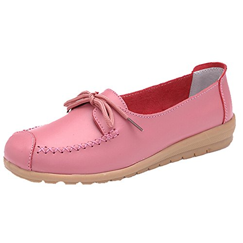 Hattie Women Casual Soft Leather Lace up Flats Pumps for Walking Driving Pink aw9fBtvj