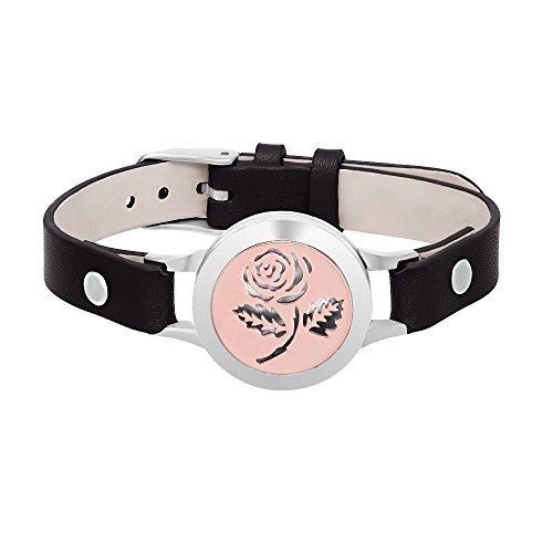 - SENFAI Rose Flower Aromatherapy Stainless Steel Locket Bracelet Genuine Leather Band Bangle(Black Band + Rose Gold face)