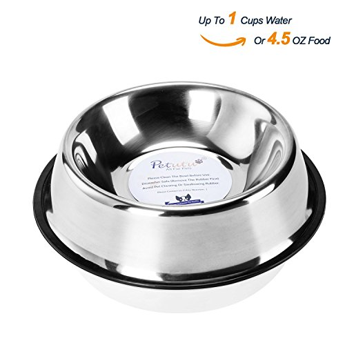 Stainless Steel Dog Bowls With Rubber Base Non-Skid Classical Food Bowl,Water Bowl For All Pets Rust Resistant (Various Sizes Available) By Petutu-S(Up to 4.5oz Food)