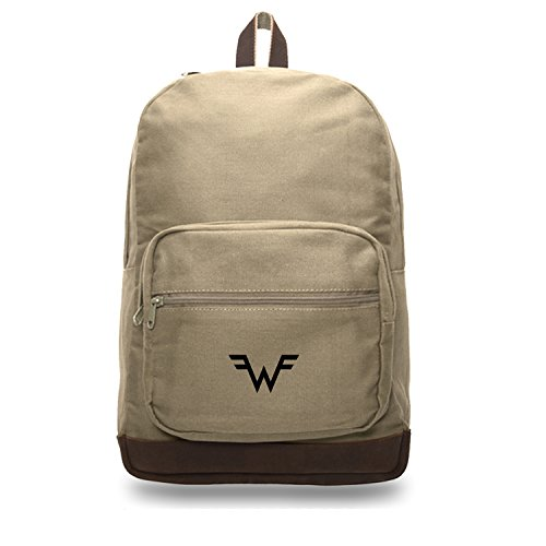 Weezer Canvas Teardrop Backpack with Leather Accents, Khaki & Bk