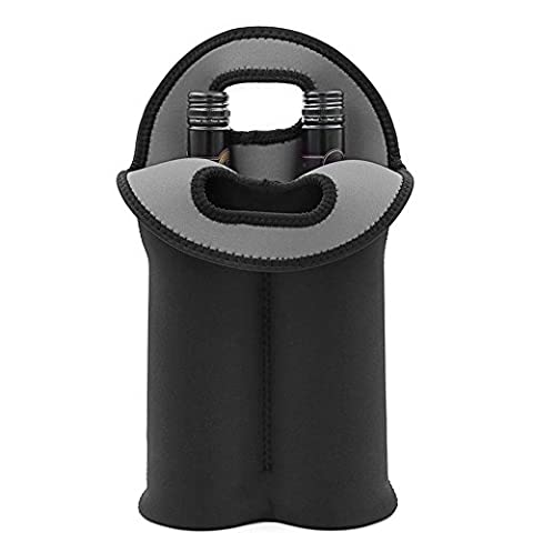 W Wine Carrier   Double Tube Wine Tote Bag with Cold Insulation Guard and Grip Handle for 2 Bottles   Safe Sturdy Lightweight Washable Neoprene for Water Beverage Bottle Travel   - Neoprene 2 Bottle Wine Tote