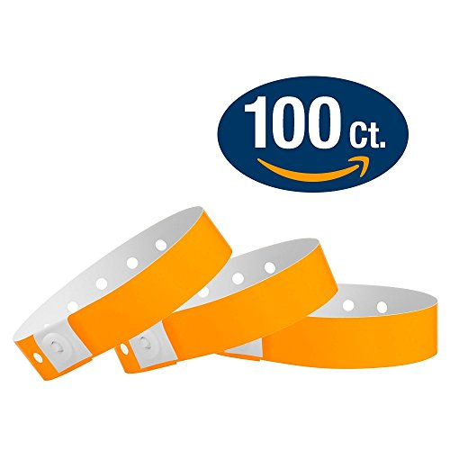 WristCo Neon Orange Plastic Wristbands - 100 Pack Wristbands For Events
