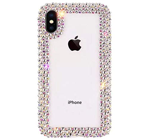 Jesiya for iPhone XR Case 3D Glitter Sparkle Bling Case Luxury Shiny Crystal Rhinestone Diamond Bumper Clear Protective Case Cover for iPhone XR Clear
