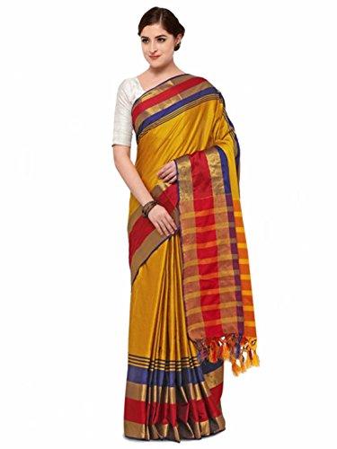 Printed Handicrfats Satrani Export Silk Saree Indian Blend Yellow P68AxIZwq