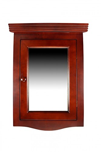 Renovator's Supply Cherry Wood Corner Wall Mount Medicine Mirror Cabinet FULLY ASSEMBLED Solid Hardwood Hardware Included (Mount Wall Mirror Cherry)