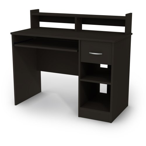 Axess Desk - Modern Design - Keyboard Tray and One Drawer - Black - by South Shore (Small Office Desk)