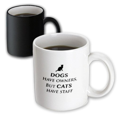 3dRose Dogs Have Owners, But Cats Have Staff Magic Transforming Mug, 11-Ounce