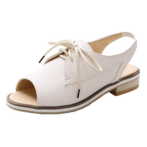 TAOFFEN Women's Lace up Sandals Shoes White OsNX1eZjpV