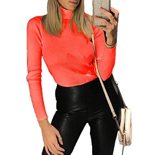 Velius Women's Fluorescent Turtleneck Rib Long Sleeve Stretchy Pullover Sweatshirt Top (Medium, Sexy Pink) (Skinny Cocktails To Order At A Bar)