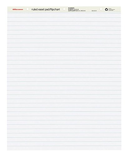 Office Depot Brand Standard Easel Pads, 27'' x 34'', 30% Recycled, White, 50 Sheets, Pack of 2